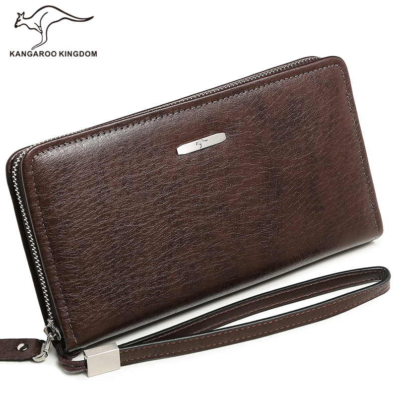 KANGAROO KINGDOM famous brand fashion men wallets long genuine leather business clutch zipper wallet large capacity phone purse