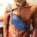 Promoção saco de Lona dos homens Casuais Lazer Pacote Peito bolsa de Ombro Cruz corpo sacos pequenos sacos de viagem Sacos de Telefone Móvel Blue & cinza