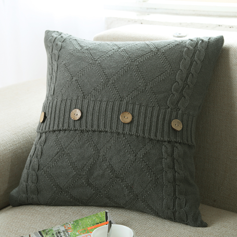 Aliexpress Buy Nordic Vintage Knitted Pillow Cover Button Awesome How To Knit Pillow Covers