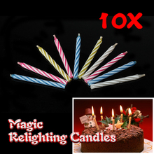 10 Pcs/lot Magic Relighting Candles Funny Tricky Birthday Eternal Blowing Candles Party Joke Birthday Cake Decors
