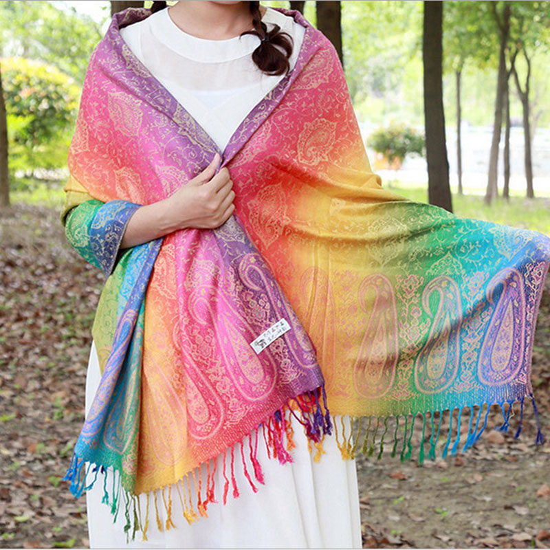 CoolCheer Winter Women Scarf  Rainbow Jacquard Scarves Ethnic Style Floral Print Shawls Colorful Ladies Long Pashminas
