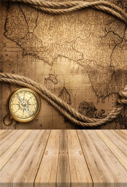 Laeacco Old World Map Rope Compass Wooden Board Baby Photographic ...