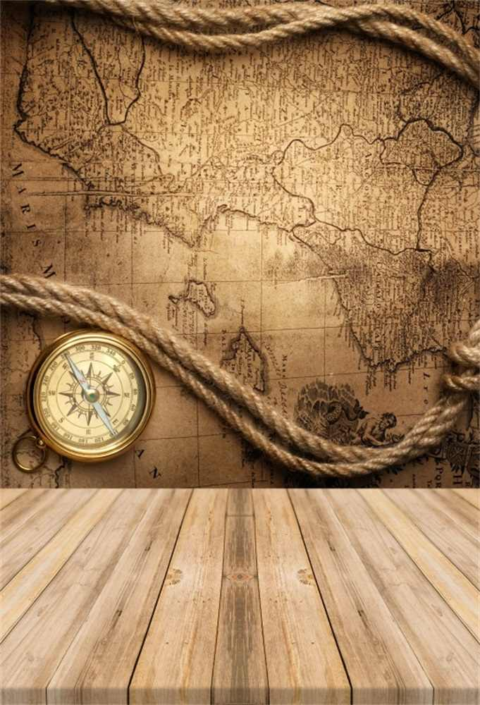 Laeacco Old World Map Rope Compass Wooden Board Baby Photographic  Backgrounds Customized Photography Backdrops For Photo Studio