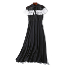 PADEGAO Dresses Women Lapel Bow Knot Hollow Lace Black White Collision Color Stitching Long Fairy Dress 2019 New Arrival