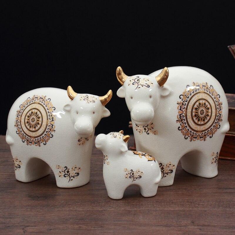 Современный творческий скота фигурки домашний Декор Гостиная скульптура gradevin керамика животных абстрактный ремесленных фэншуй орнамент