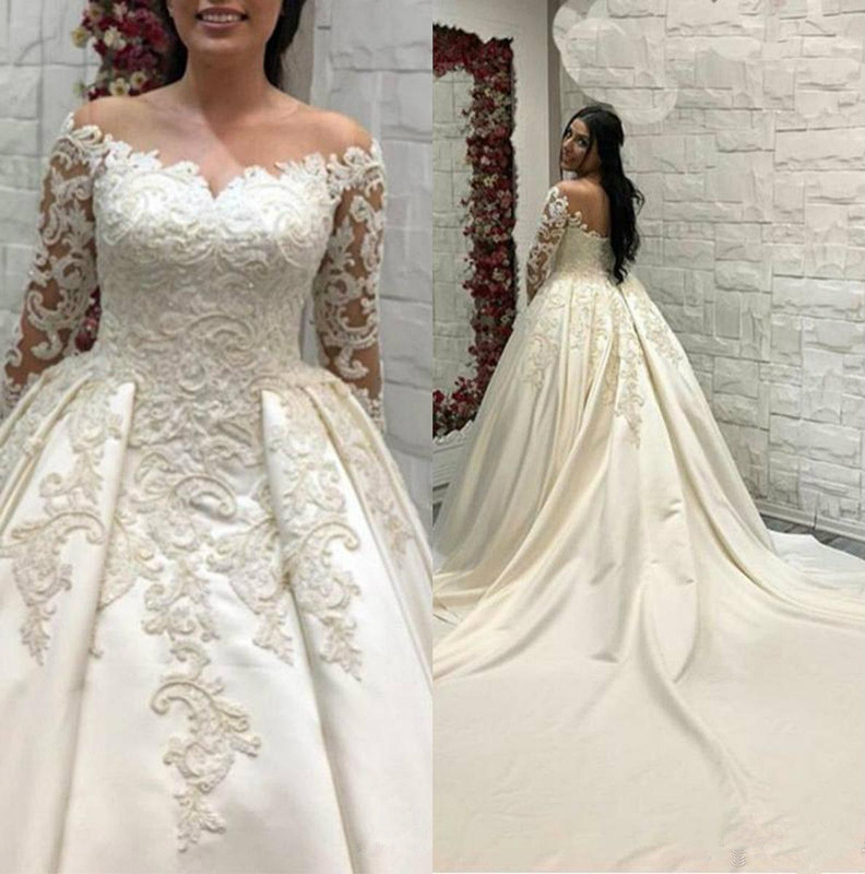 Saudi Arabic Lace Ball Gown Satin Wedding Dresses Long