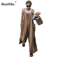 RealShe Elegant Jumpsuits Women Cold Shoulder Sleeveless Solid Jumpsuit Loose Trousers Wide Leg Pants Pockets Linen Overalls
