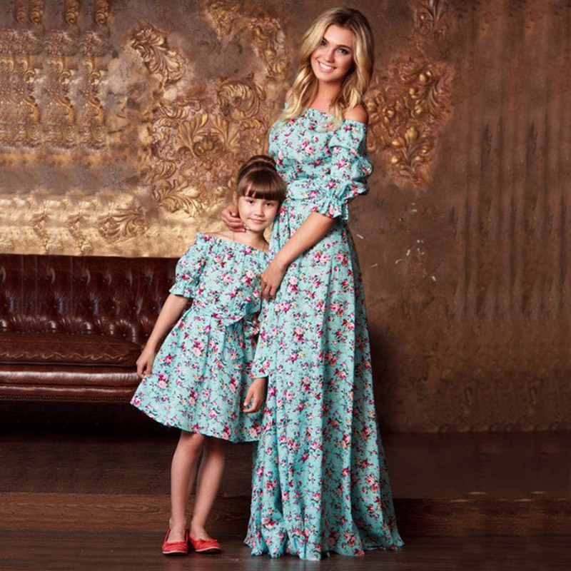 sunny eva flower print dress up mom and daughter matching