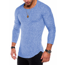 2018 Spring And Autumn New European And American Style Pit Strip Solid Color Arc Pendulum Round Neck Long Sleeved Male T-Shirt все цены