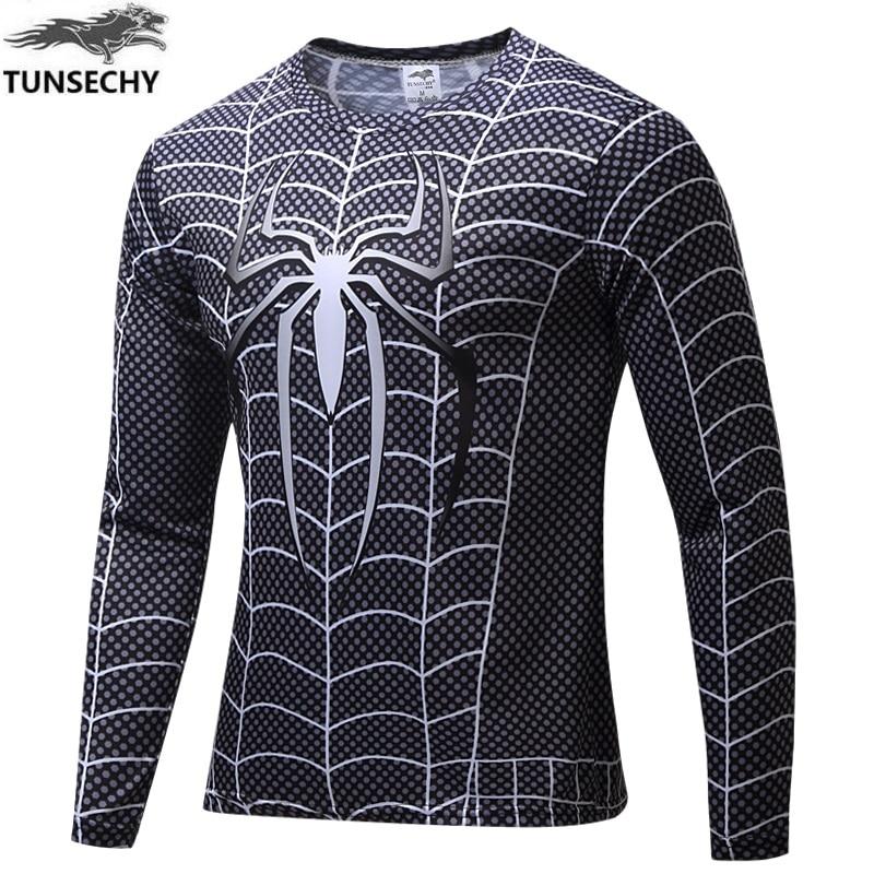 Free Shipping New 2017 Tight Quick-drying Men T-shirts Printed Long Sleeve T-shirt Quick Dry T-shirt Brand T-shirt Spider-man