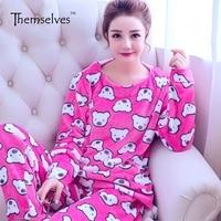 Women Winter Flannel Pajamas Long Sleeve Pajamas Sets Nightwear Pijamas De Las Mujeres