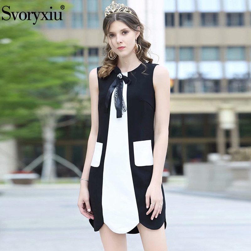 Svoryxiu Fashion Designer Summer Sleeveless Short Dress Women's White Patchwork Black Exquisite Diamond Bow Dresses Vestdios