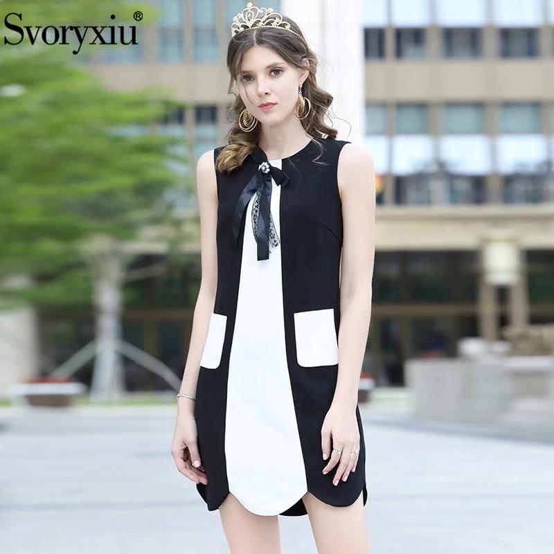 Svoryxiu الأزياء مصمم الصيف أكمام قصيرة اللباس المرأة الأبيض خليط أسود رائعة الماس القوس فساتين Vestdios-في فساتين من ملابس نسائية على  مجموعة 1