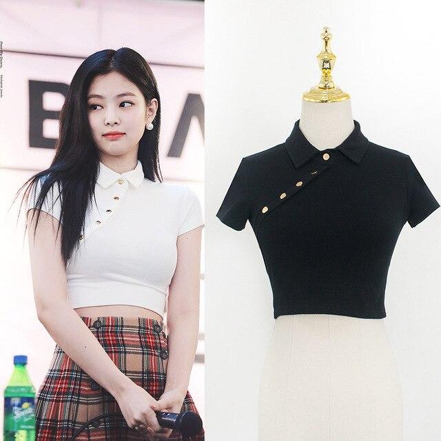 6840ac19580a8 Blackpink Jennie la misma camiseta Harajuku Kawaii de manga corta Camiseta  coreana Kpop mujeres Hip Hop Streetwear Delgado tops