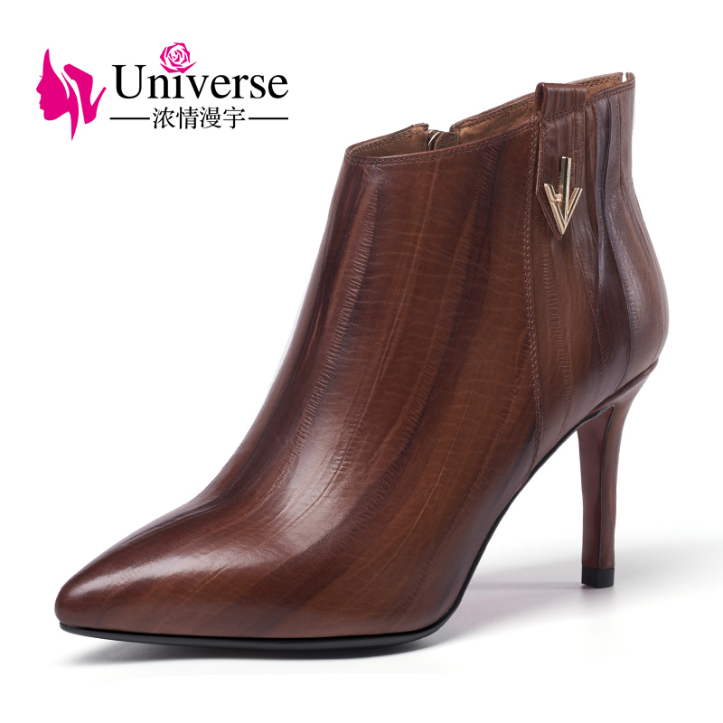 Universe 2017 fashion winter ankle boots slim high heel shoes for ladies pointed toe genuine leather boots G331