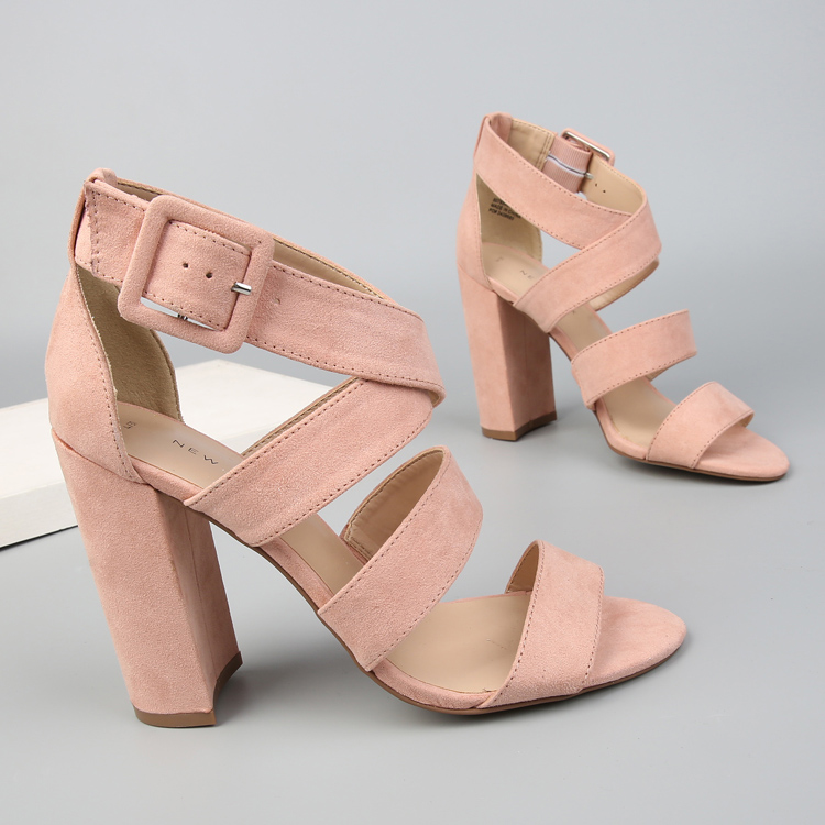2018 Ankle Strap Heels Women Sandals Summer Shoes Women Open Toe Chunky High Heels Party Dress Sandals Lady fashion suede Gladit covibesco nude high heels sandals women ankle strap summer dress shoes woman open toe sandals sexy prom wedding shoes large size