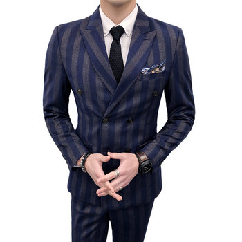 (Tops + Pants + Vests) Suits Men's Double Breasted Groom Wedding Dresses Korean Slim Striped Small Suits Men's Groomswear