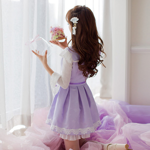 Image 2 - Princess sweet lolita purple dress Candy rain Chinese style Stand collar Bow decoration Pleated  A Chinese design C16CD6135