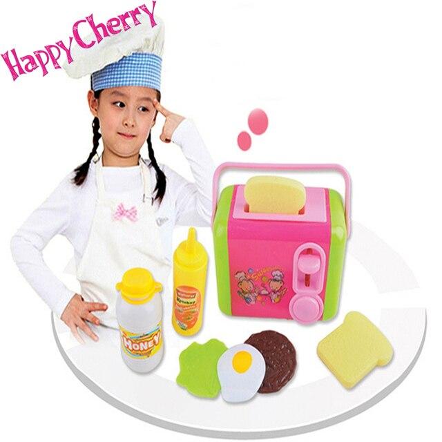 Happy Cherry Children Fun Pretend Play Plastic Kitchen Cookers Toys Preschool Bread Toaster Set Kids Cuisine Jouet
