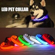Nylon LED Pet Dog Collar Night Safety Pet Supplies Flashing In Dark Dogs Luminous Fluorescent Collars