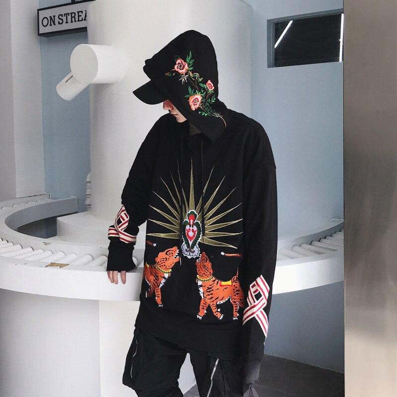 2018 Марка Черный 3d животное тигр печати хорошее качество японских Китай Стиль Для мужчин большой Размеры рок-группа толстовки с капюшоном