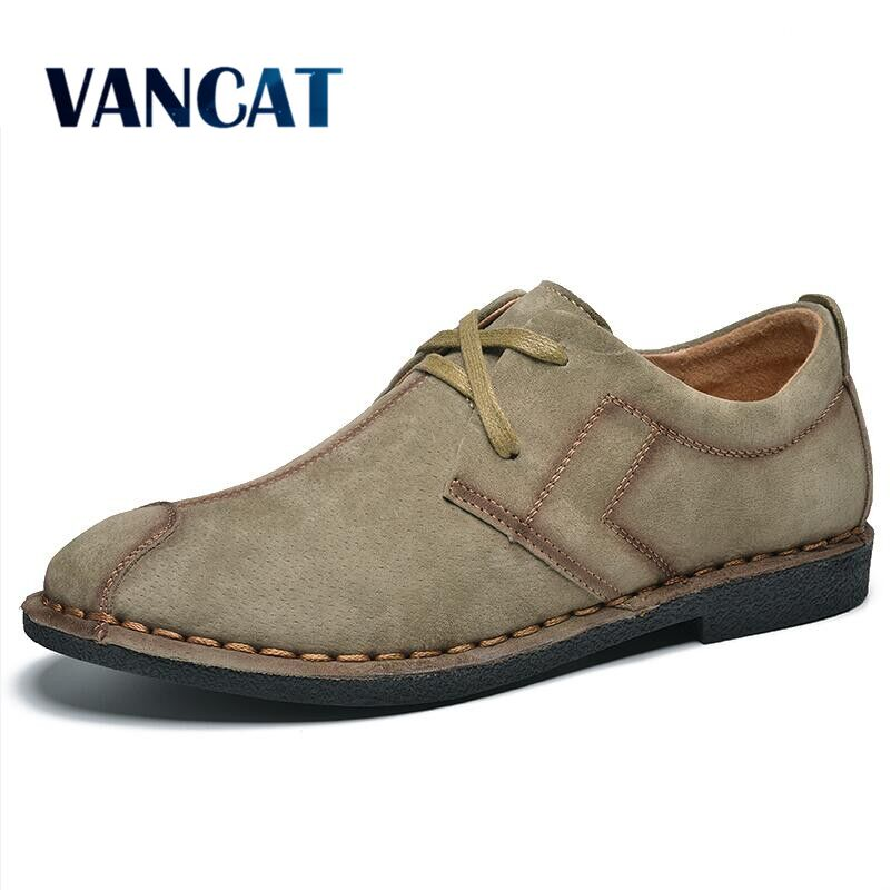VANCAT Men's Casual Shoes Round Toe Pig Suede Leather Spring Autumn Worker Shoes Oxford Shoes For Men Flats Shoes Men Moccasins