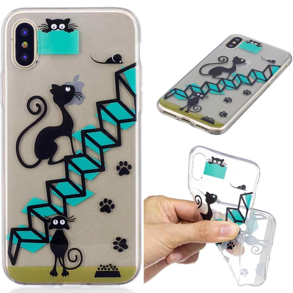Gato de dibujos animados caja del teléfono para Samsung Galaxy S8 más A3 A5 2016 J3 J5 primer J7 2017 suave de la cubierta del TPU del caso para iPhone 7 6X8 5