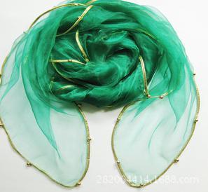Женский летний Одноцветный полосатый шарф из органзы, украшенный бисером, женский весенний золотой ободок, длинный бисер, тонкая мягкая шаль - Цвет: 5