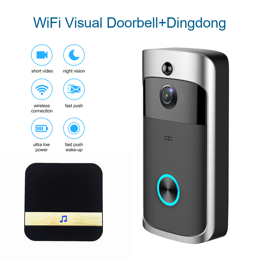 Smart Wifi Wireless Video Door Bell Viewer Ring Camera Waterproof Nightvision Doorbell Intercom Apartment Security APP Control