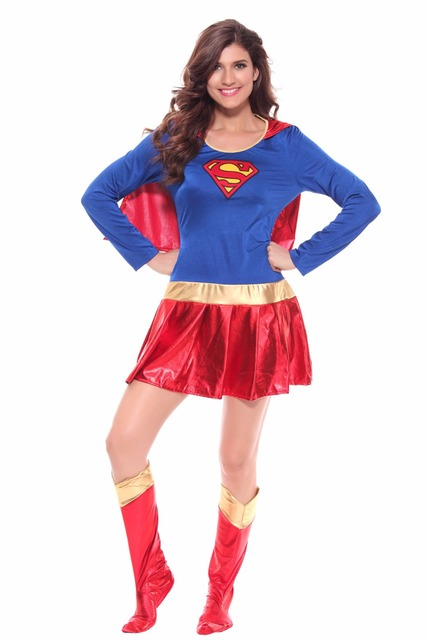 7e0368226b03 Female Sexy Supergirl Superman Cosplay Long Sleeve Fancy Mini Dress with  Cloak, Boots and Panties Role Play Costume Set