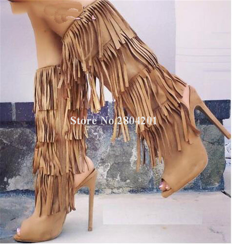 Femmes Stlye Marque Peep Glands Daim Fahion Picture Toe En As Robe Mi Mince Nouveau as Longues Talon Chaussures De Picture Bottes mollet Coupe haut Cuir twAE5WqPq