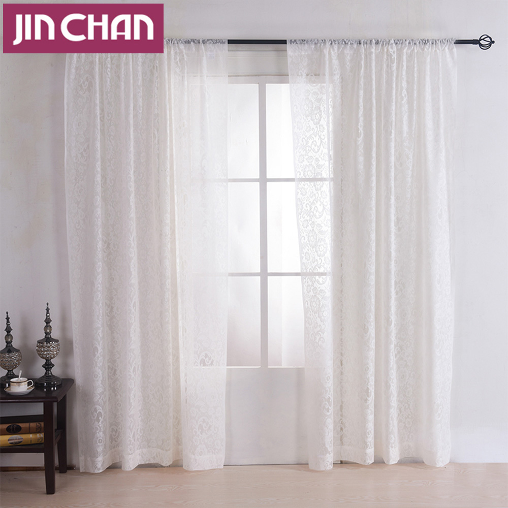 Sheer Curtains Bedroom White Lace Design Flower Window Voile Tulle Sheer Curtains For