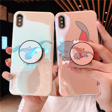 JAMULAR Lovely Cartoon Dumbo Fitted Case For iPhone 7 XS MAX XR X 6 6s Plus Blue Ray Stand Holder Phone Cover Funda