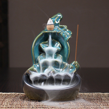 Gourd Backflow Waterfall Incense Burner Lotus Stick Holder Censer Purple Clay Aroma with 10 pcs Cones Smoke Home Decor