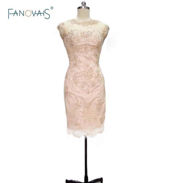 Champagne Knee Length Mother Of The Bride Lace Dresses Elegant Groom For Weddings