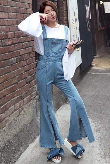 2ac73b7cab3e Vintage Korean Strap Suspender Overalls Pocke Split Flares Bell Bottom Denim  Pant Zipper Jean Trouser Jumpsuit Romper Women Sexy-in Jeans from Women s  ...