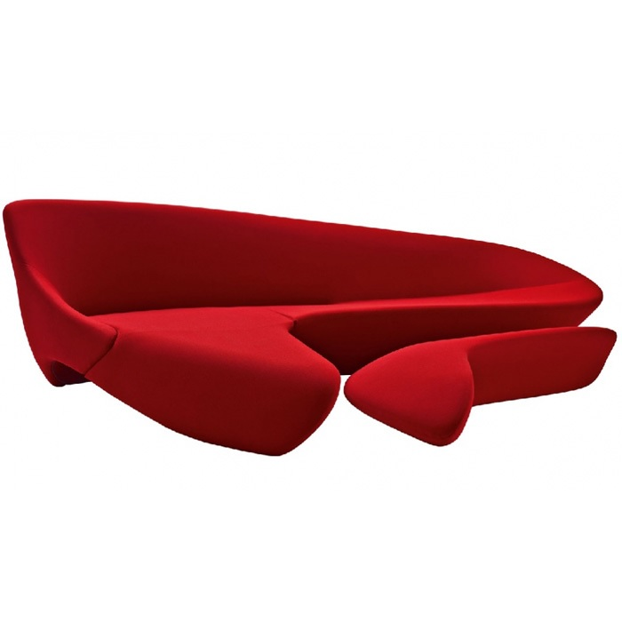 Irregular Sofa With Ottoman For Large Space Of Waiting Room / Fabric Or Leather Upholstery / 2 Sets Pack