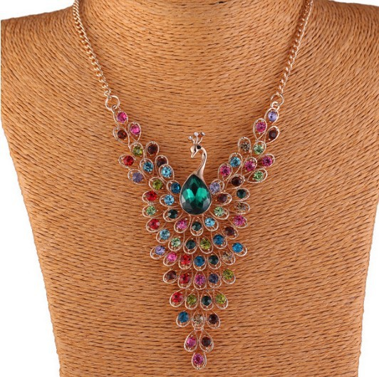 New Fashion Fine Jewelry Rhinestone Colorful Peacock Long Necklace & Pendants For Women Bohemia Necklace 160