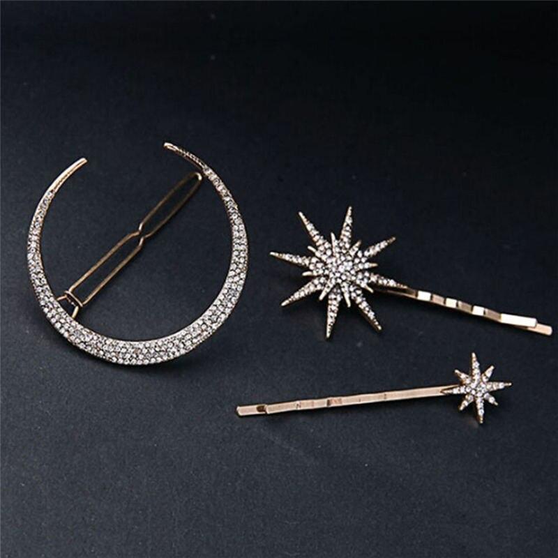 1 PC/3PCs Star Moon Rhinestone Hair Clip Hairpin Women Girls Jewelry Fashion Styling  Accessories