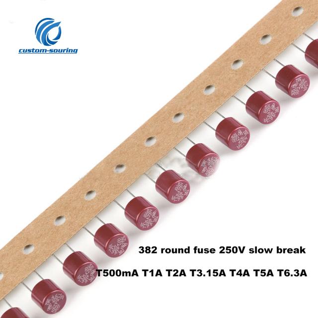 Free shipping 10pc 328 series fuse round slow break fuse T500mA T1A T2A T3.15A T4A T5A T6.3A option 250V