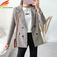 Blazer Women 2018 Autumn Khaki Plaid Office Lady Women Blazers And Jackets Fashion Notched Collar Elegant Work Blazers Feminino