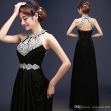 2016 Vestido A Line Elegante Prom Long Black Abendkleider Halfter Sexy Rückenfreie Party Für Besondere Anlässe Kleider Abendgarderobe