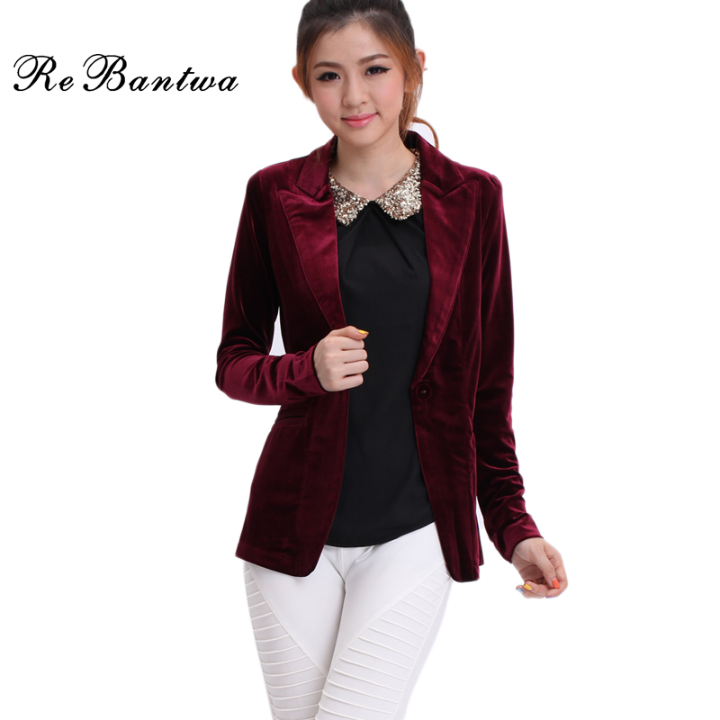 Rebantwa Women Blazers And Jackets 2016 Gold Velvet Blazer women ...