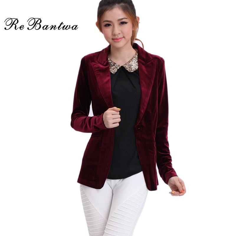 Rebantwa Women Blazers And Jackets 2016 Gold Velvet Blazer Women Retro Jacket Women Long Sleeves ...