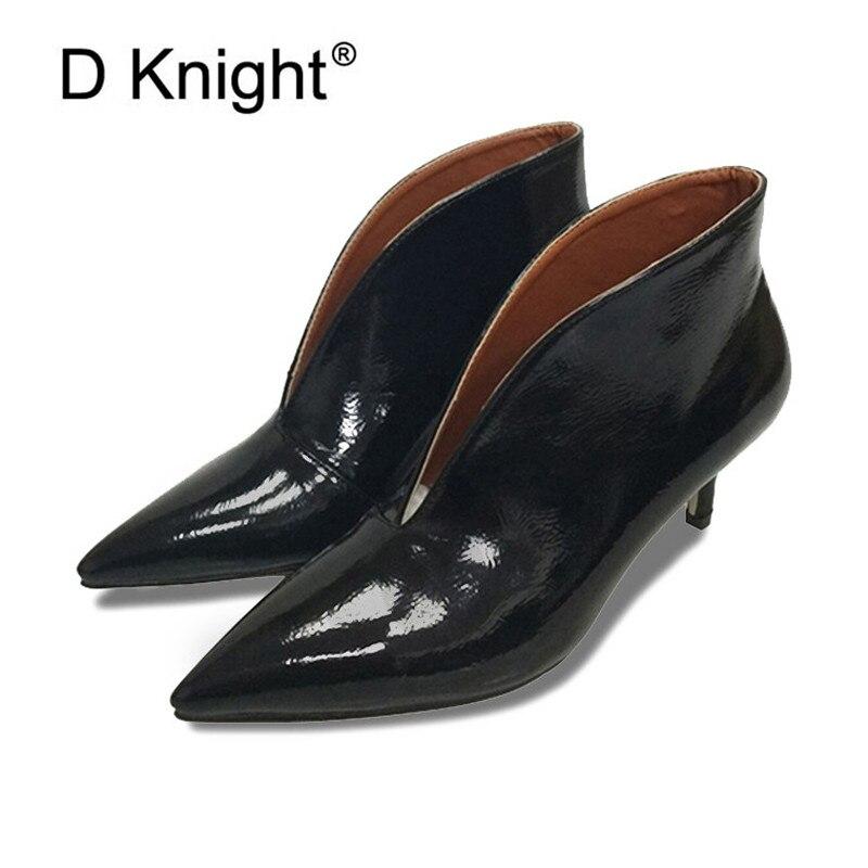 Sexy bout pointu bottes chaussures femmes en cuir verni courtes bottines pour femmes nouveau v-portion pompes rétro talon haut Bota Feminina