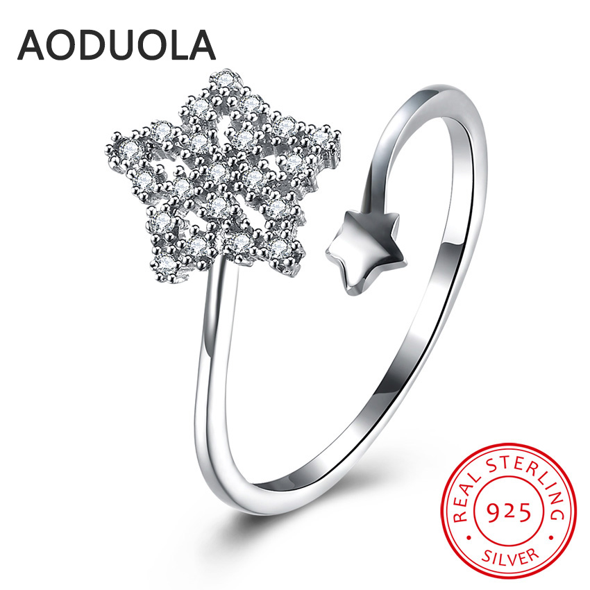 925 Sterling Silver Adjustable Ring Silver Plated Star Rings Womens Rings Ladies and Girls Finger Christmas Gift For Lover