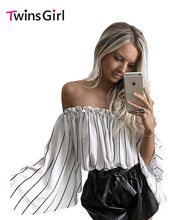 New 2017  Autumn Women Vintage White Black Stripes Print Ruffled Off Shoulder Bell Sleeve Top LC25907 Slash Neck  Casual Blouse