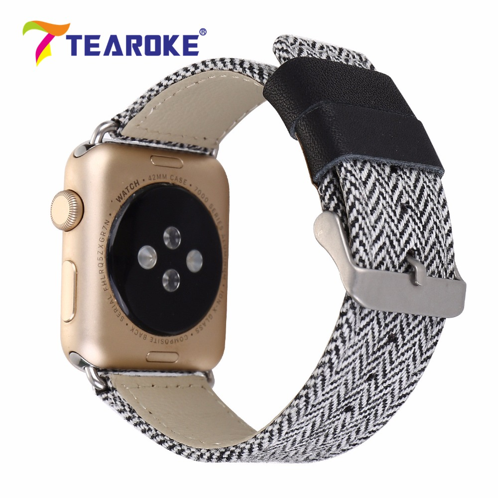 TEAROKE Linen Leather Watchband For Apple Watch iwatch 12 38mm 42mm Vintage White Grid Pattern Women Men Replacement Band Strap vintage red brown crazy horse genuine leather watchband for apple watch 38mm 42mm women men replacement band strap for iwatch