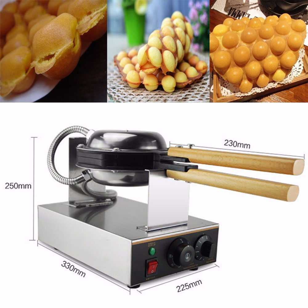 NEW BRAND Stainless Steel Electric Eggettes Egg Waffle Maker Rotated Round Waffles Maker Belgian Waffle Pancake Makers crepe avec des bulles