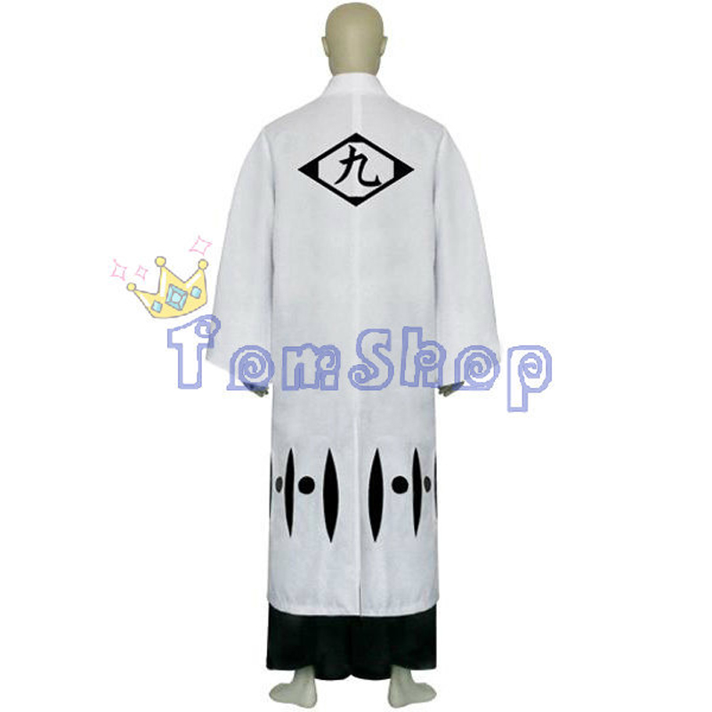 Bleach 9th Division Captain Tousen Kaname Cosplay Kimono Uniform Suit Mens Costumes with Sandals Custom Size free shipping